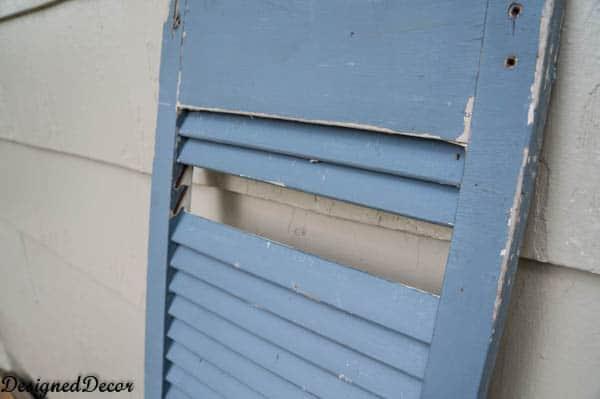 repairing a shutter with paint sticks-2-2