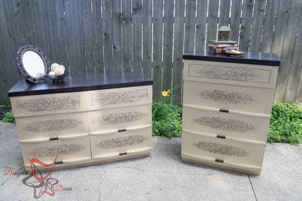 Gold Embossed Dressers~ Wood Icing ~ Modern Masters- Dresser Makeover