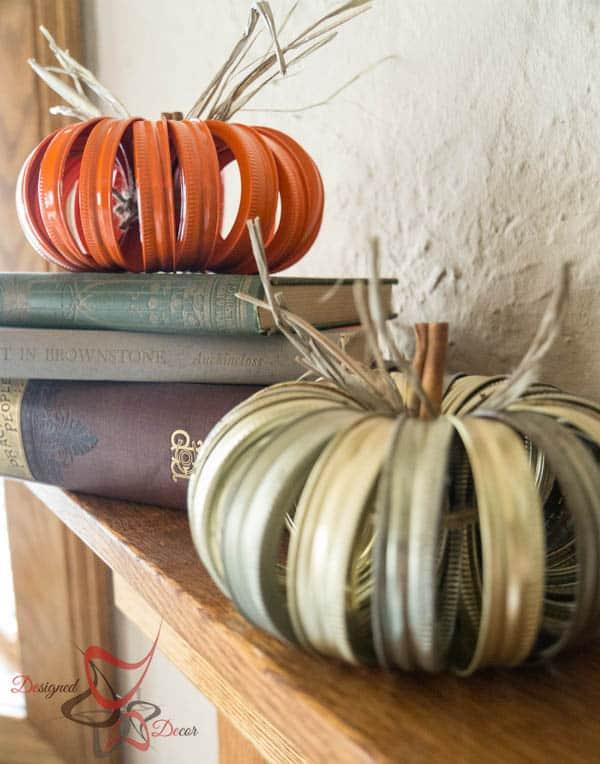 2014 Fall Home Decor- Canning Lid Pumpkins