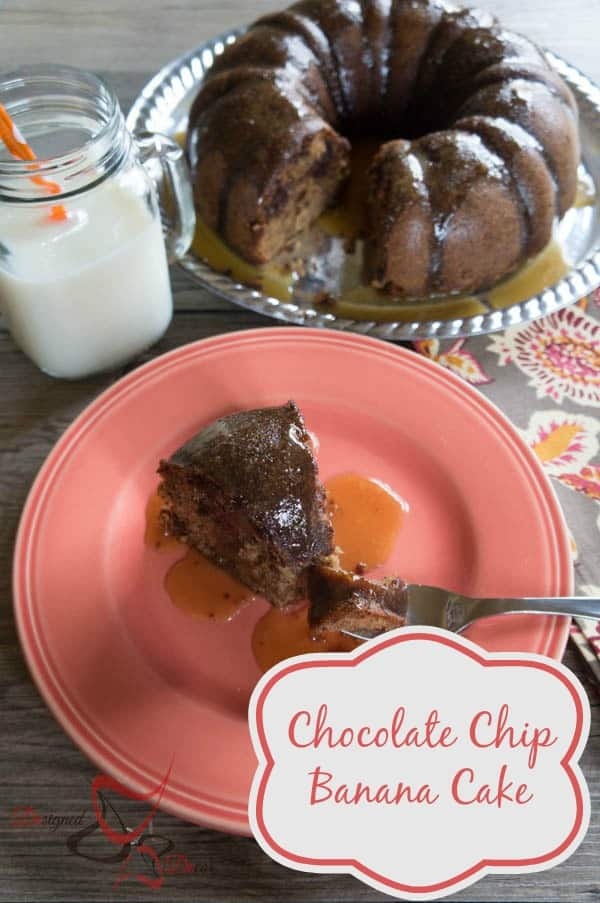 Chocolate Chip Banana Cake with Maple Caramel Sauce