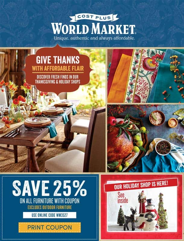 Cost Plus World Market~ Fall Catalog~ Thanksgiving~ Entertaining