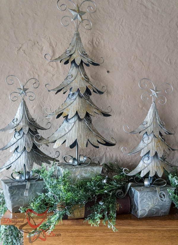 Christmas Mantel with Metal Decor