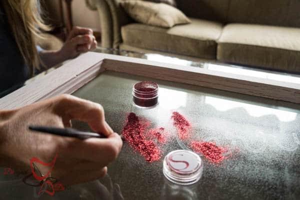 Applying glitter