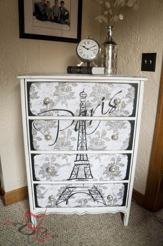 Eiffel Tower Dresser- Decoupage- Maison Blanche- Vintage Furniture Paint- Silhouette Cameo