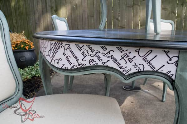 French Provencial Dining Table Makeover- Decoupaging furniture