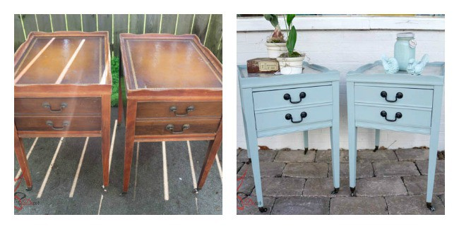 before and after of side table makeover using paint and fabric