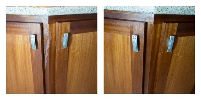 deep cleaning the cabinets-chemcial free cleaning