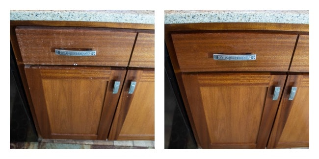 deep cleaning the kitchen cabinets- chemical free cleaning
