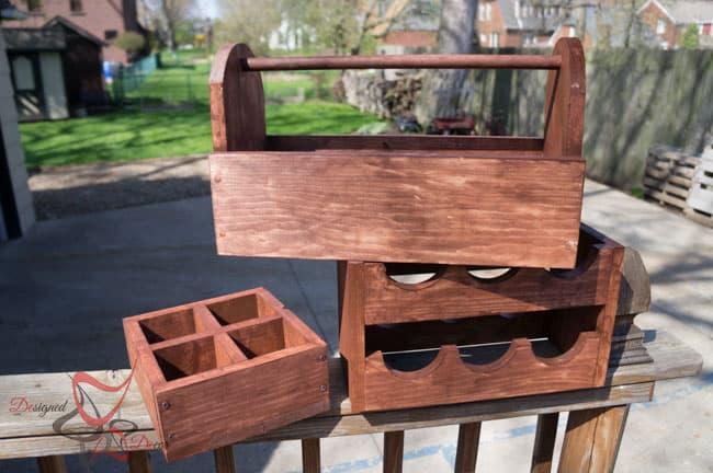 1 Power Tool Challenge- Garden Tool Box- Mason Jar Caddy-Wine Rack-18