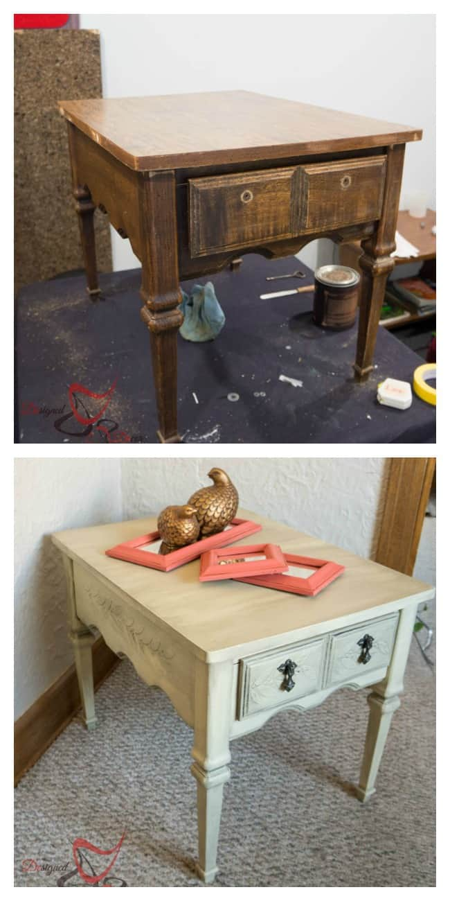 Embossed Side Table before after