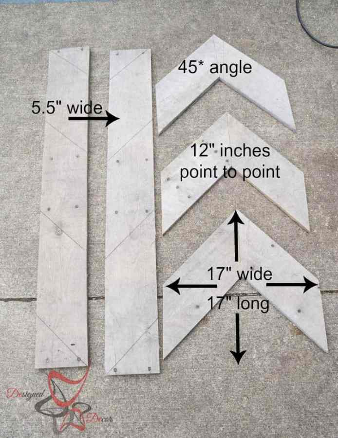Pallet Chevron Arrows measurements