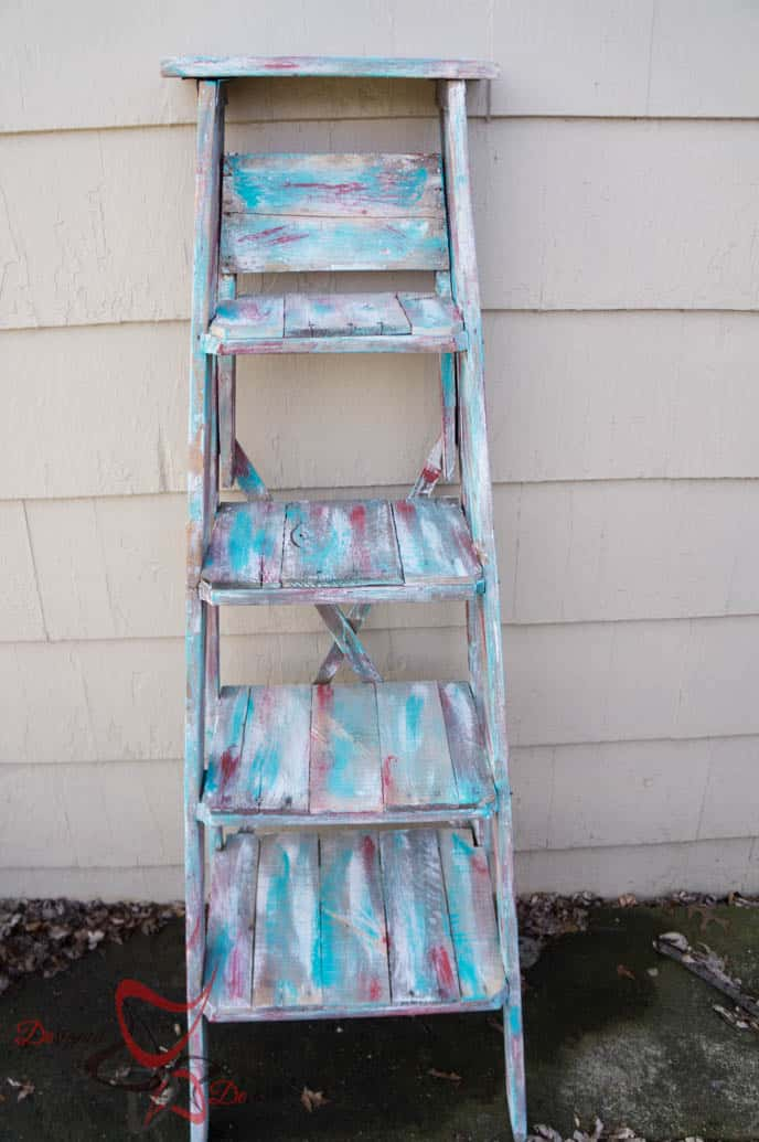 Repurposed Ladder Shelf-