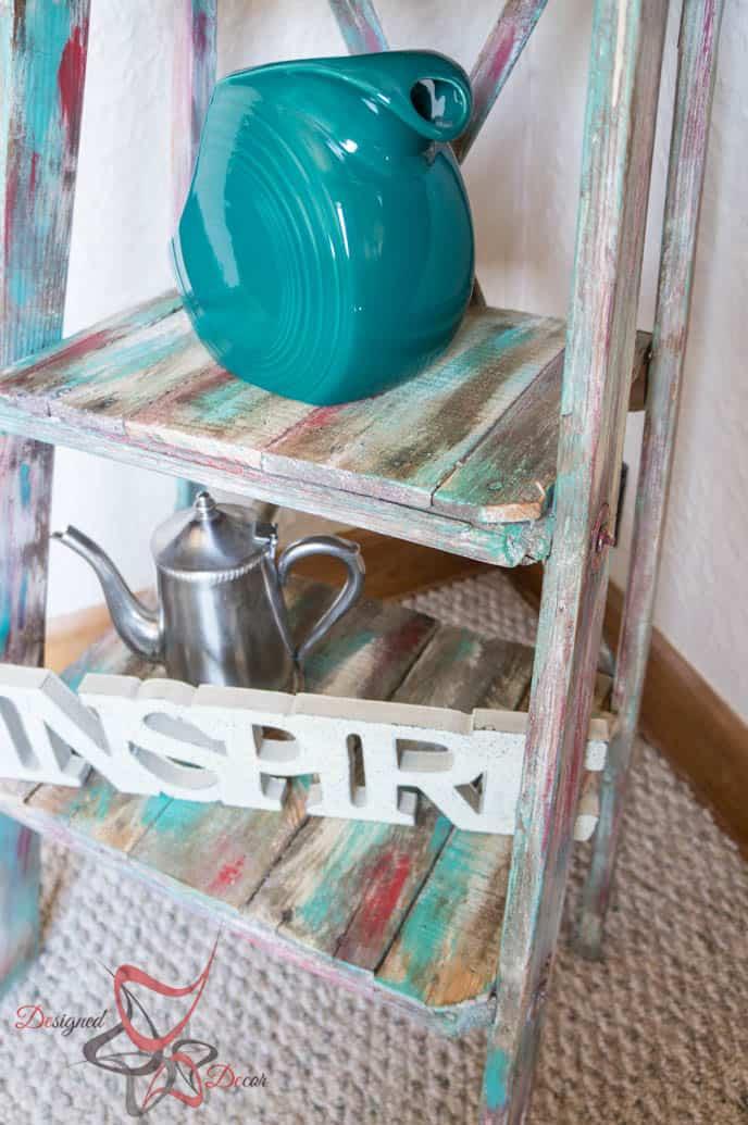Repurposed Ladder Shelf-