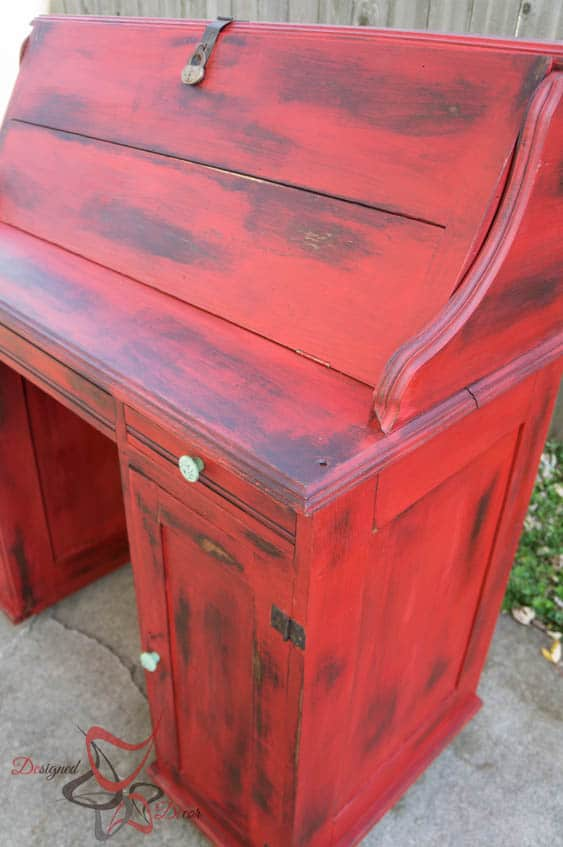 image of a antique desk painted, Distressed, and washed with stain