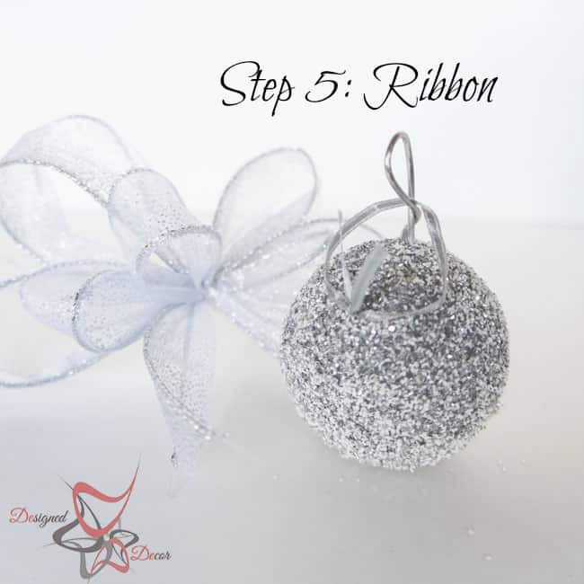 DIY-Glitter Styrofoam Ball Christmas Ornaments-Christmas Decorating on a budget- step 5