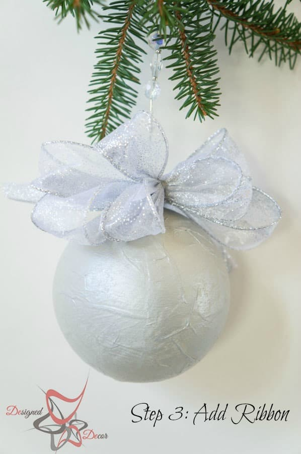 DIY-Paper Mache- Christmas Ornament- Maison Blanche- Organza-Shimmer- Decorating Christmas on a Budget- Step3