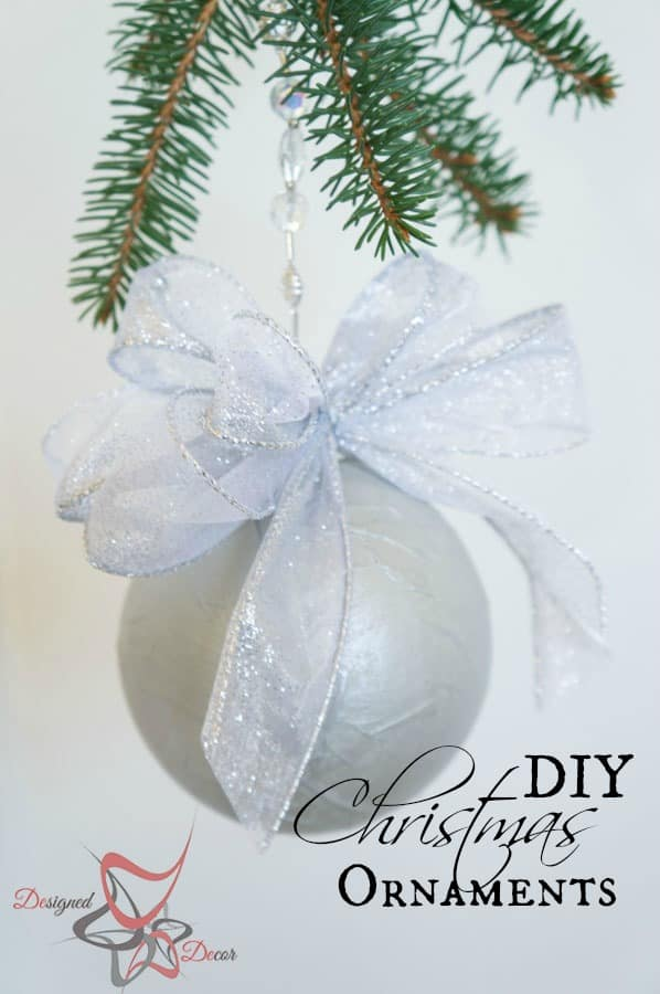 DIY-Paper Mache- Christmas Ornament- Maison Blanche- Organza-Shimmer- Decorating Christmas on a Budget pinnable