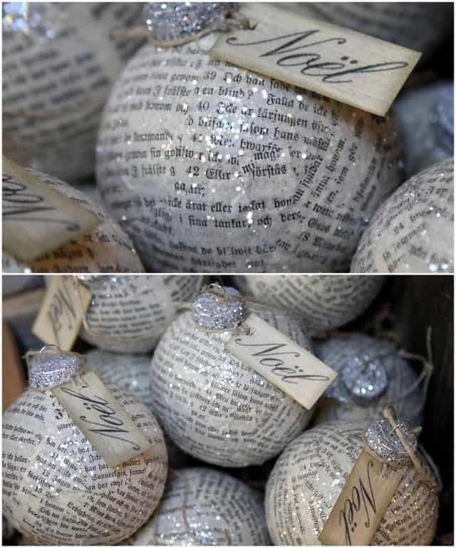 paper mache book page ornaments