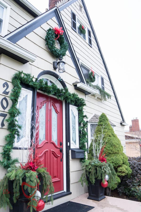 Outside Christmas Decor- Christmas Decorating on a Budget- Flower Boxes- (7 of 21)