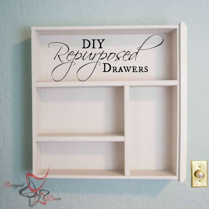 Repurposed Drawer Wall Shelves-pinnable