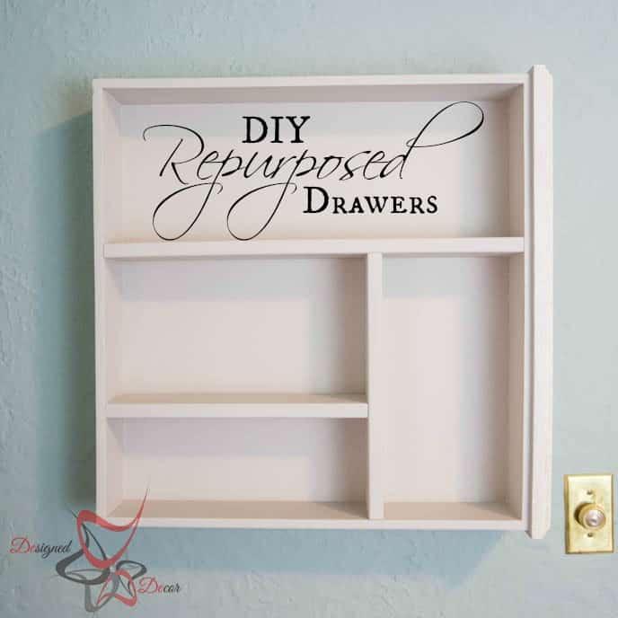 Repurposed Drawer Wall Shelves-pinnable