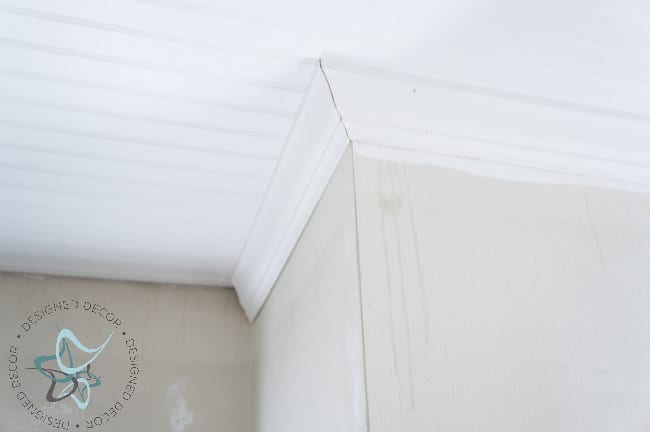 DIY Closet Makeover Beadboard Ceiling Crown Molding