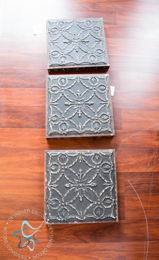 DIY Rustic Metal Tile Wall Decor! ~- Designed Decor