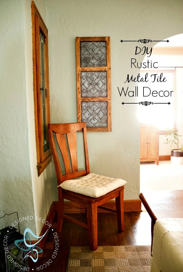 Rustic metal tile wall decor dining room refresh budget world market sponsor pinnable