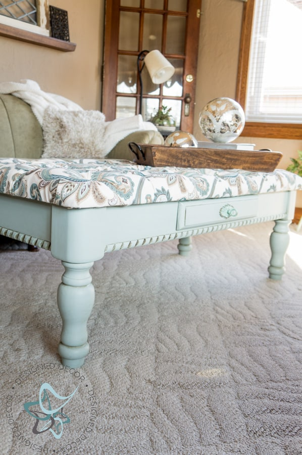 Diy Tufted Ottoman Coffee Table Repurposed Furniture Painted (23