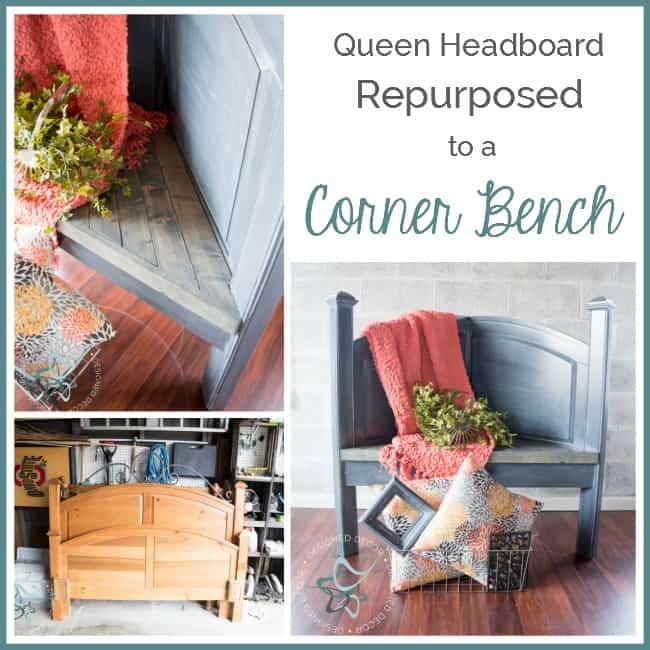 Repurposed Headboard Corner Bench