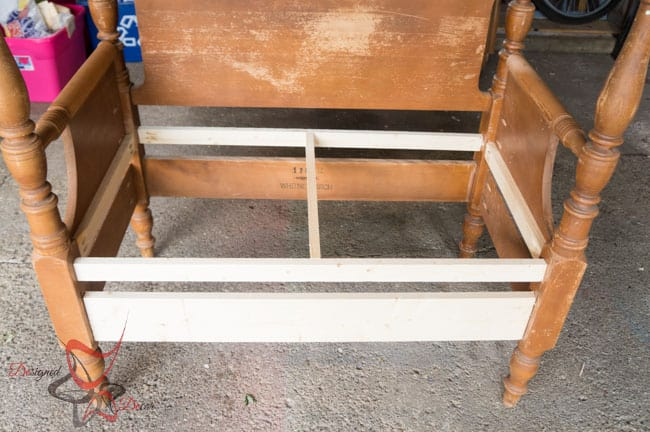Repurposed Headboard Bench- French Bench- Furniture Stenciling (5 of 8)
