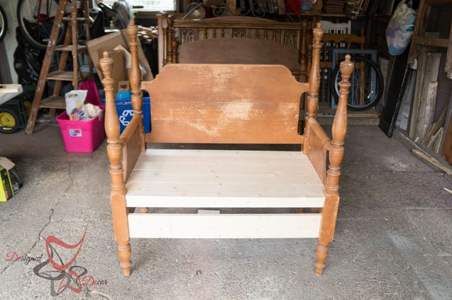Repurposed Headboard Bench- French Bench- Furniture Stenciling (6 of 8)