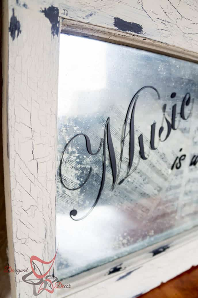 Repurposed Window-Wall Decor-Music Quote-Decoupage-14