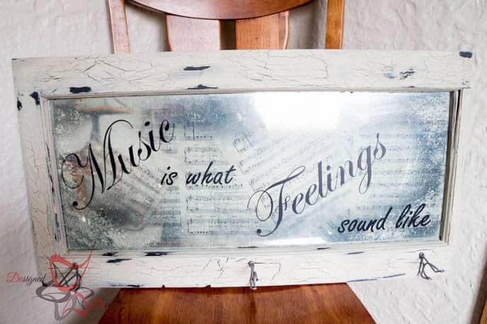 Repurposed Window-Wall Decor-Music Quote-Decoupage-15