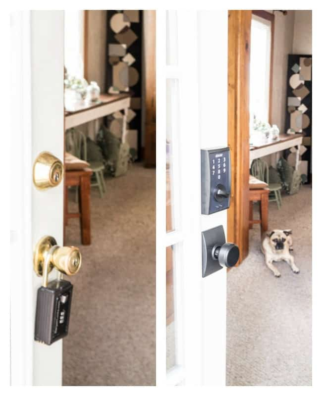 Schlage keyess locks- door makeover- before-after