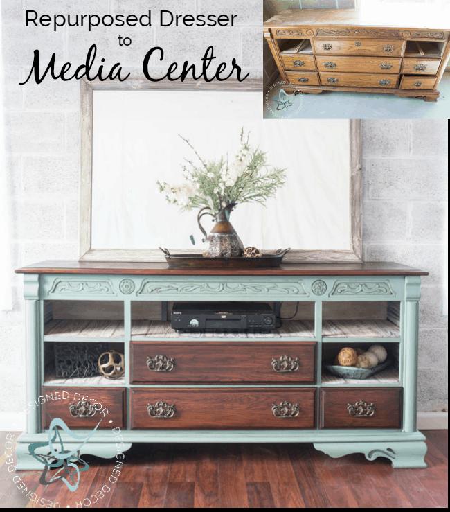 Super Repurposed Dresser to Media Center! ~- Designed Decor XA16
