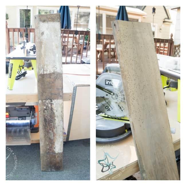 repurposed barn wood shelves- Ridgid planer