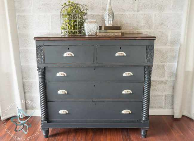 Carved Empire Dresser-Rustic Glam-4