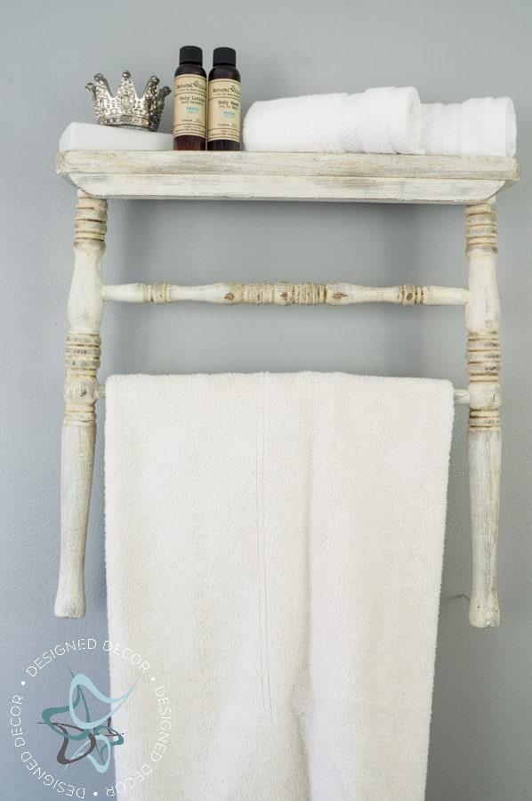 Repurposed Chair Shelf-Towel Holder-11