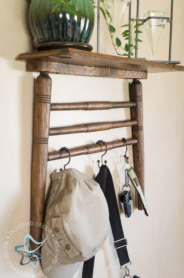 Repurposed Chair Shelf-Towel Holder--4