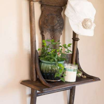 Repurposed Chair Shelf!