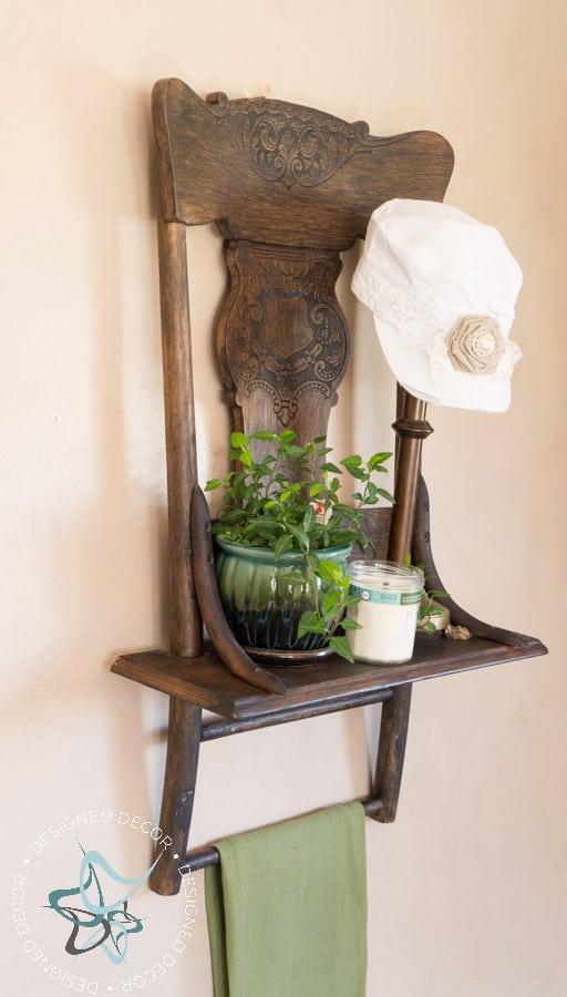 Repurposed Chair Shelf-Towel Holder--5
