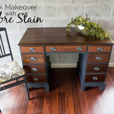 A Simple DIY Desk Makeover with Ombre Stain