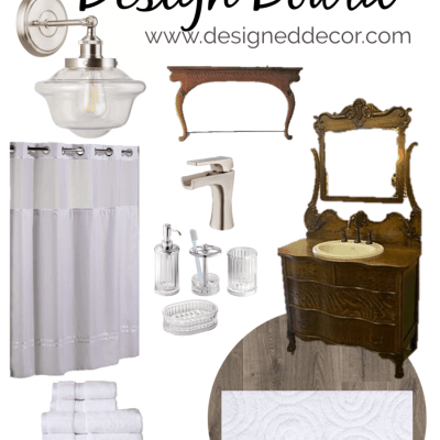 Modern Vintage Bathroom Design Board for the Guest Suite