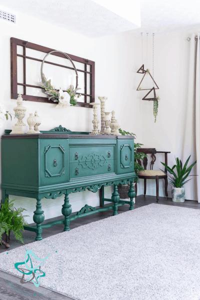 Modernize an outdated buffet -custom deep green paint