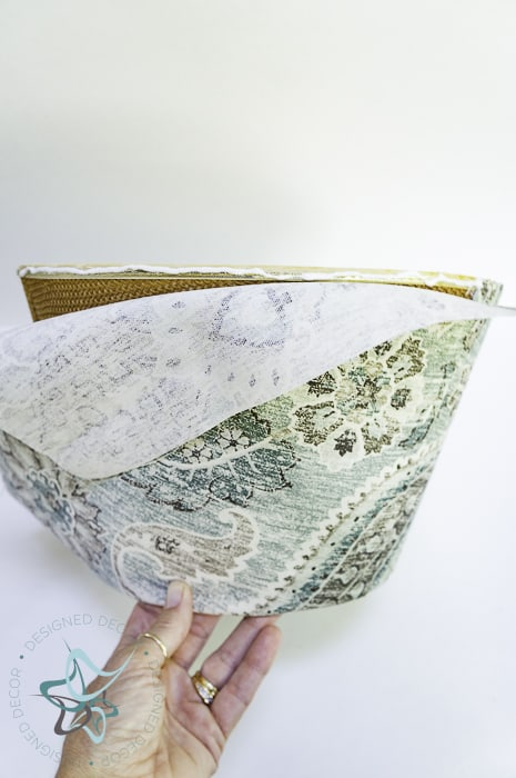 use fabric glue to attach fabric to lampshade