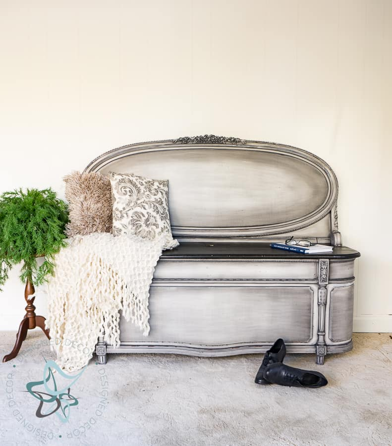 Repurposed Headboard Bench with Powder Glazing