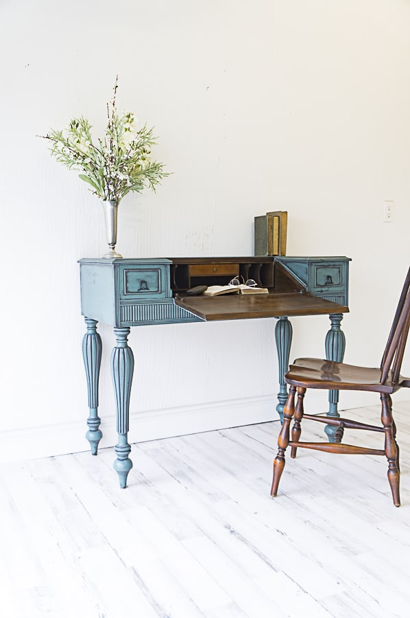 Desk makeover with powder glazing