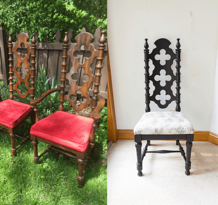 Before and after image of a 70's chair makeover