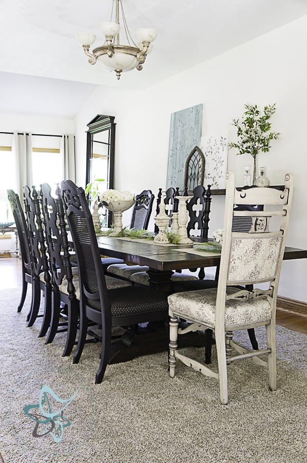 10 foot dining room table makeover with repainted chairs and new upholstery